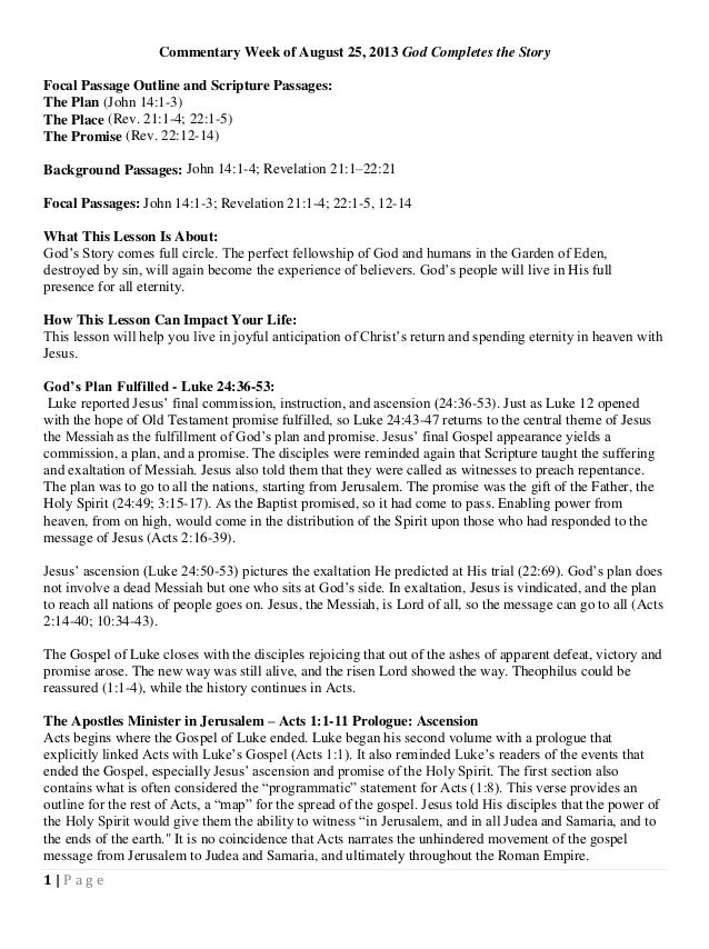1 | P a g e Commentary Week of August 25, 2013 God Completes the Story Focal Passage Outline and Scripture Passages: The P...