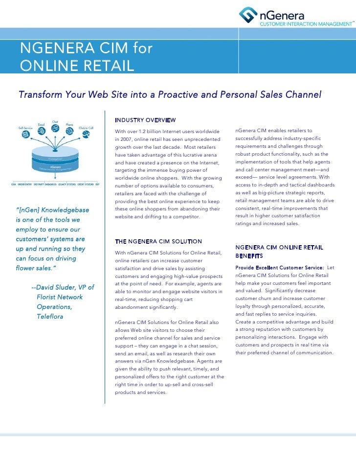 NGENERA CIM for  ONLINE RETAIL Transform Your Web Site into a Proactive and Personal Sales Channel                        ...