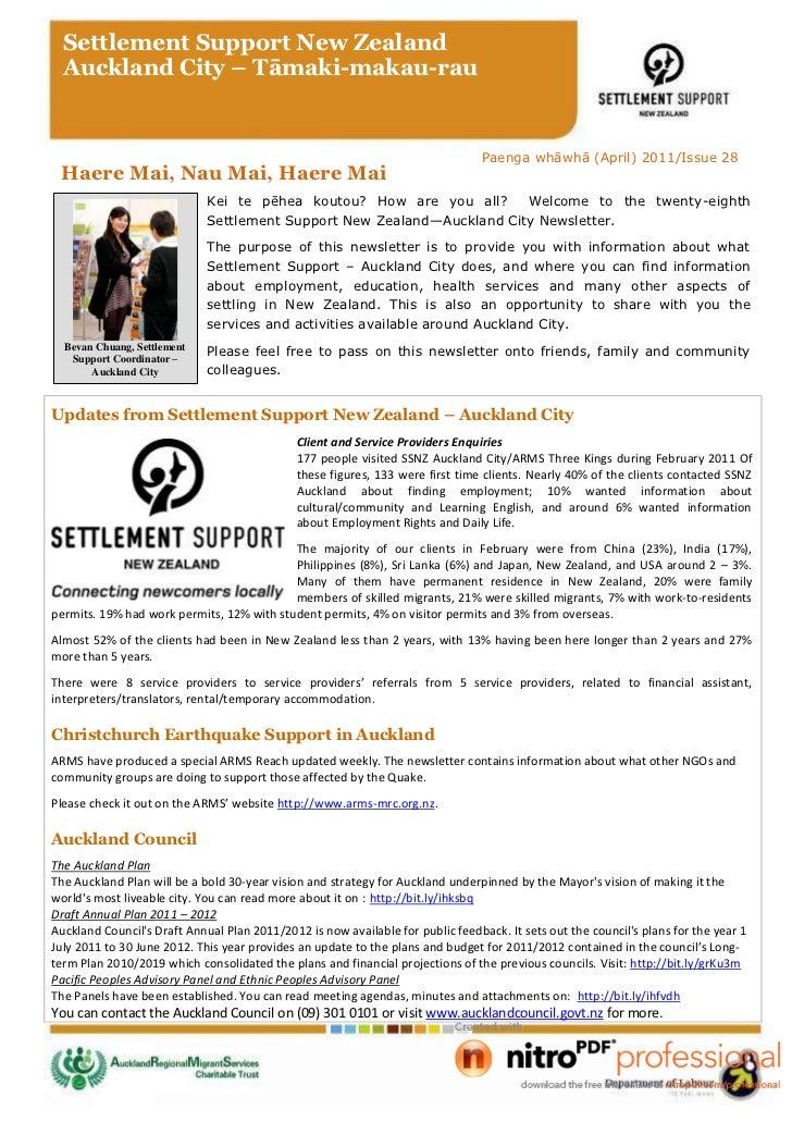 SSNZ Auckland Newsletter April 2011