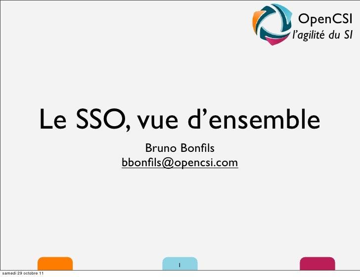 OpenCSI                                             l'agilité du SI                 Le SSO, vue d'ensemble                ...