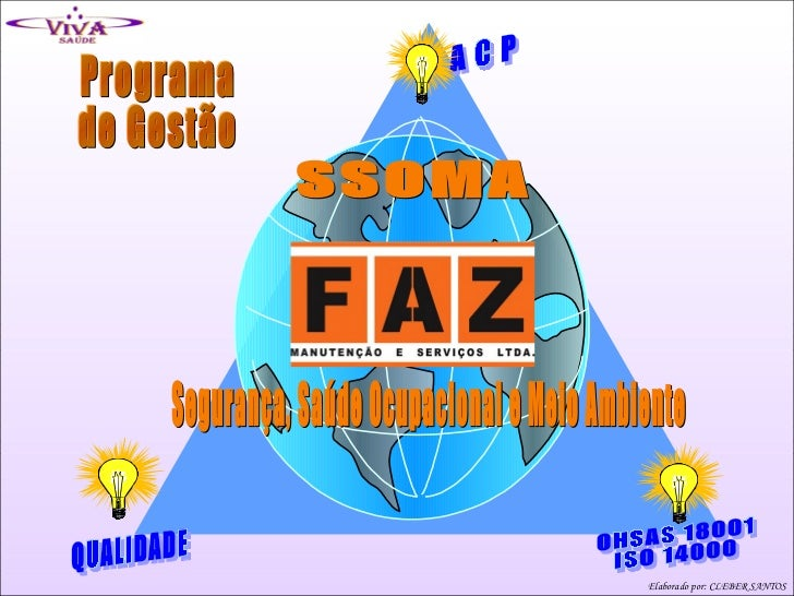 Programa de Gestão SSOMA Segurança, Saúde Ocupacional e Meio Ambiente A C P QUALIDADE OHSAS 18001 ISO 14000