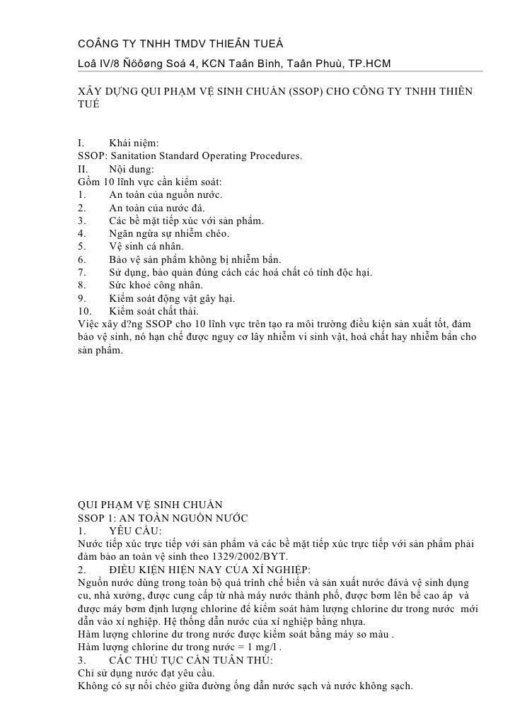 COÂNG TY TNHH TMDV THIEÂN TUEÁ Loâ IV/8 Ñöôøng Soá 4, KCN Taân Bình, Taân Phuù, TP.HCM  XÂY DỰNG QUI PHẠM VỆ SINH CHUẨN (S...