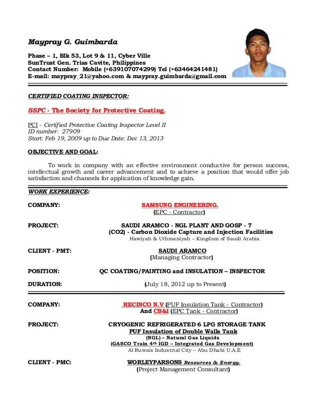 Certified Welding Inspector Resume Sample - Contegri.com