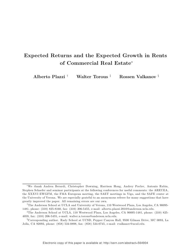 SSRN Paper: Expected Returns and the Expected Growth in Rents of Commercial Real Estate