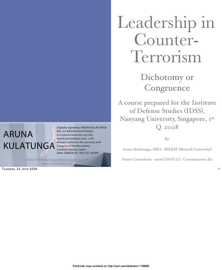 Leadership in Counter-Terrorism - Dichotomy or Congruence