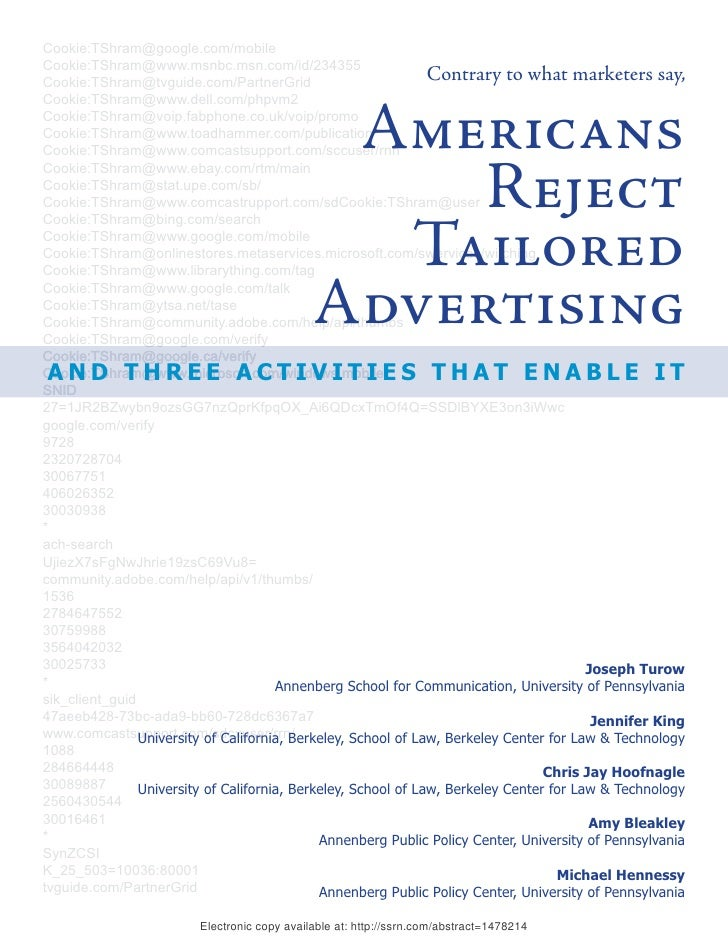 Americans Rejent Tailored Advertising