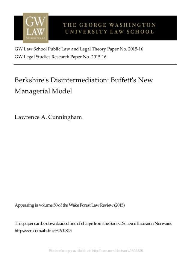 research paper on warren buffett