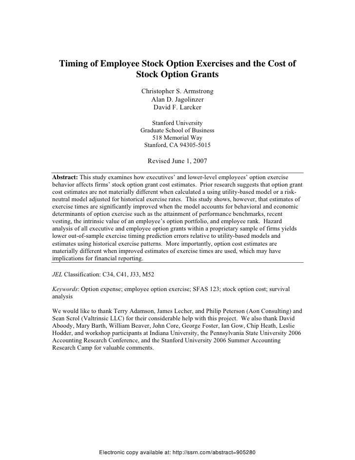 Disclosing of the cost of employee stock options