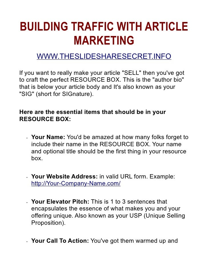 Dennis White - Drive Traffic Using Article Marketing