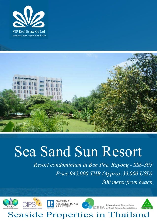 Seaside Properties in Thailand Sea Sand Sun Resort Resort condominium in Ban Phe, Rayong - SSS-303 Price 945.000 THB (Appr...