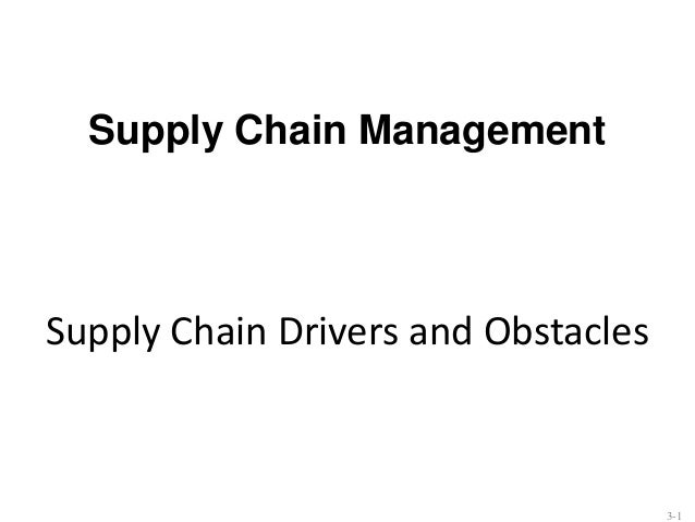 Supply Chain Management  Supply Chain Drivers and Obstacles  3-1