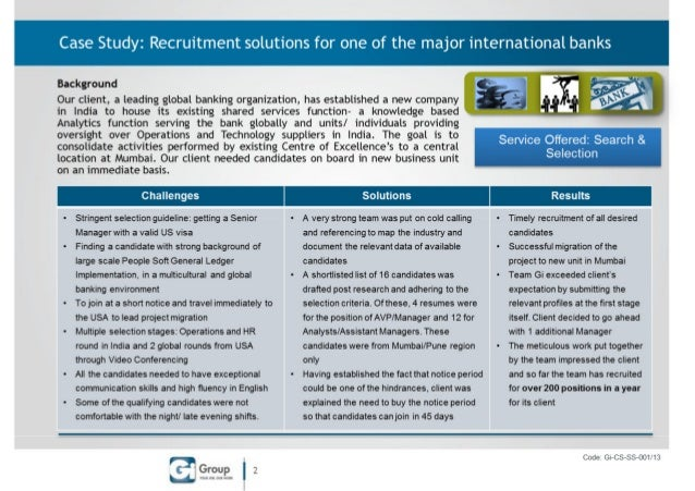 S&s solutions for a major international bank