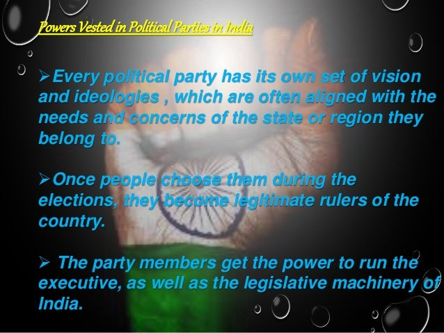 essay on role of political parties in india In india there are almost countless parties, but a few of them are worth mentioning—indian national congress (now split into various sections), the communist party of india (two groups), the lok dal, the janata dal (opposite parties), janata party, bharatiya janata party, telegu desam, asam gana parishad and the dmk (in.