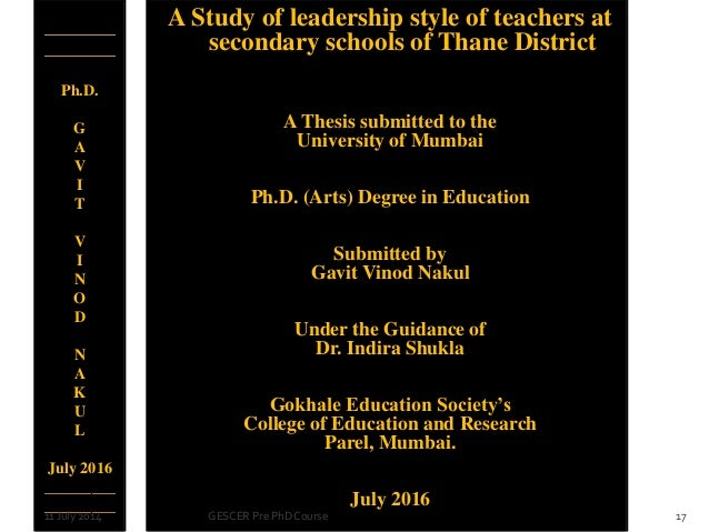 Phd thesis on quality education