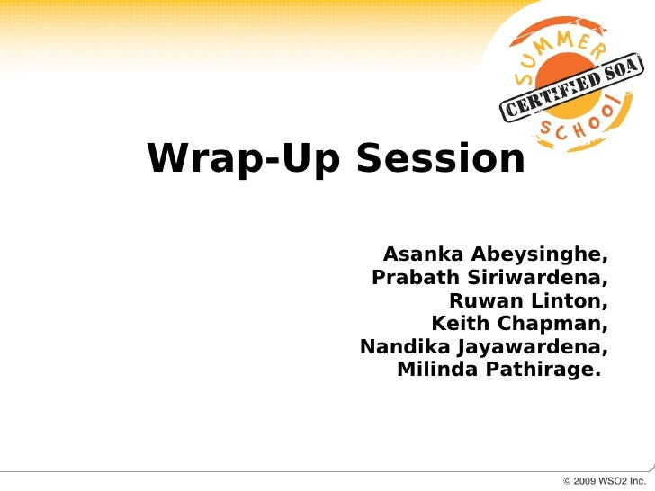 Ss Wrap Up Session 13 Aug
