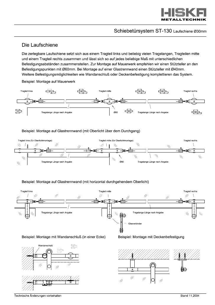Schiebtürsystem      ST-130            Laufschienendurchbiegung                                                    Abstand...