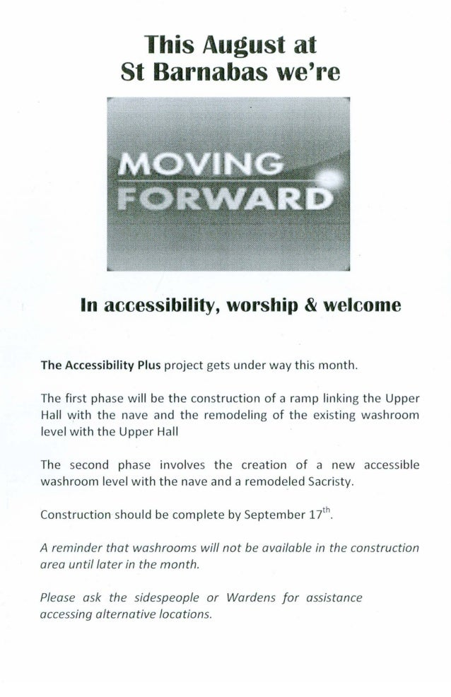 This August at St Barnabas we're In accessibility, worship &welcome The Accessibility Plus project gets under way this mon...