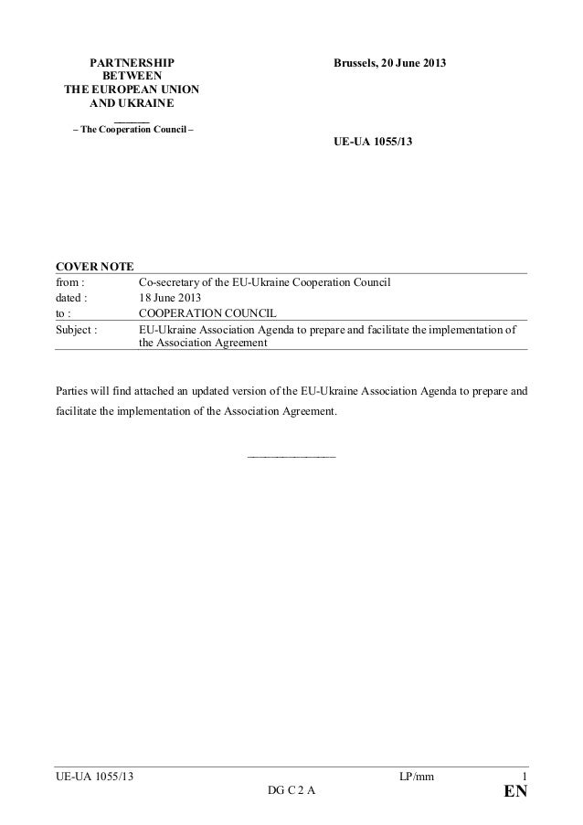 UE-UA 1055/13 LP/mm 1DG C 2 A EPART ERSHIPBETWEETHE EUROPEA U IOA D UKRAI E______– The Cooperation Council –Brussels, 20 J...