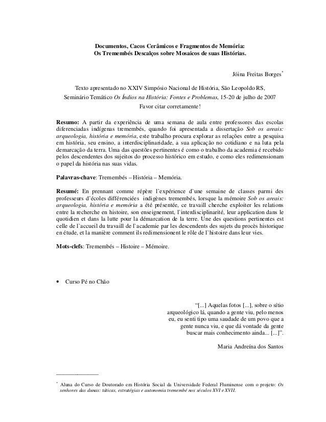 Documentos, Cacos Cerâmicos e Fragmentos de Memória: Os Tremembés Descalços sobre Mosaicos de suas Histórias. Jóina Freita...