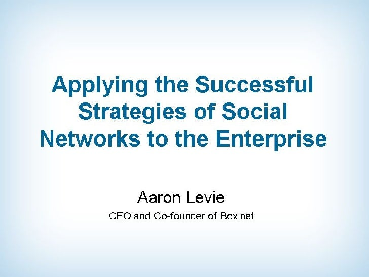 Applying the Successful Strategies of Social Networks to the Enterprise