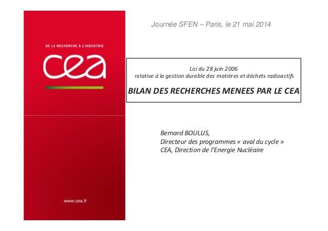 Loi du 28 juin 2006 relative à la gestion durable des matières et déchets radioactifs . BILAN DES RECHERCHES MENEES PAR LE...
