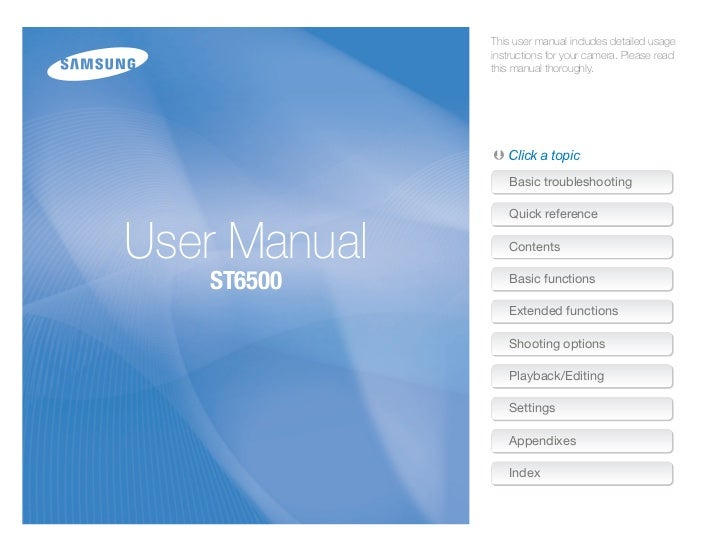 Samsung Digital Camera ST6500's User Manual