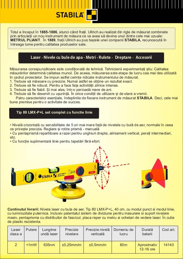 Stabila - Nivele cu laser, telemetre cu laser