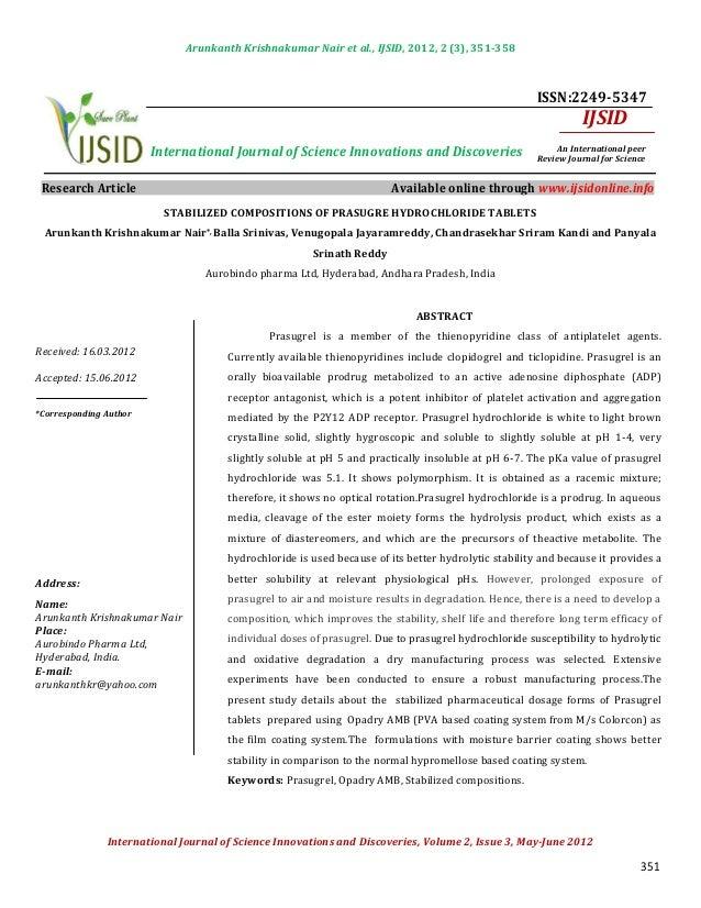 Arunkanth Krishnakumar Nair et al., IJSID, 2012, 2 (3), 351-358                                                           ...