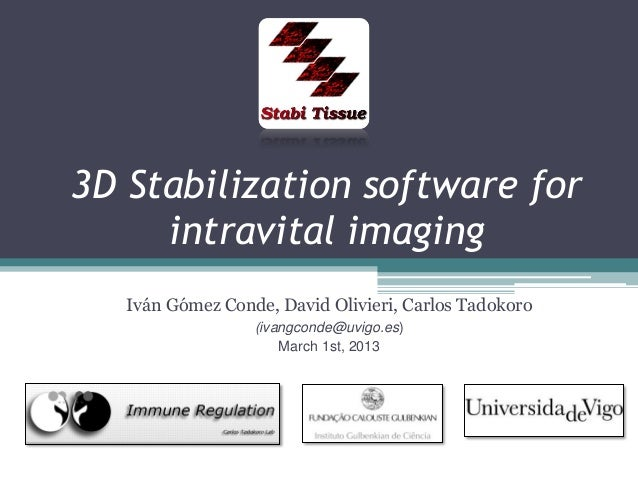 3D Stabilization software for intravital imaging Iván Gómez Conde, David Olivieri, Carlos Tadokoro (ivangconde@uvigo.es) M...