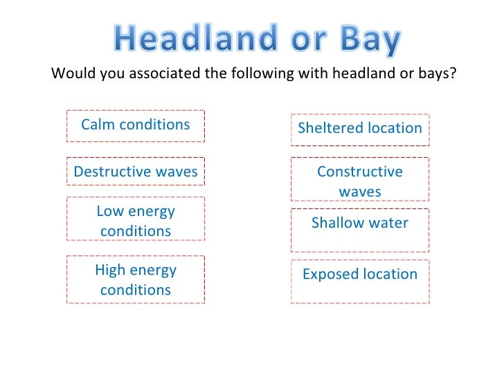 Would you associated the following with headland or bays? Calm conditions Destructive waves Constructive waves Low energy ...
