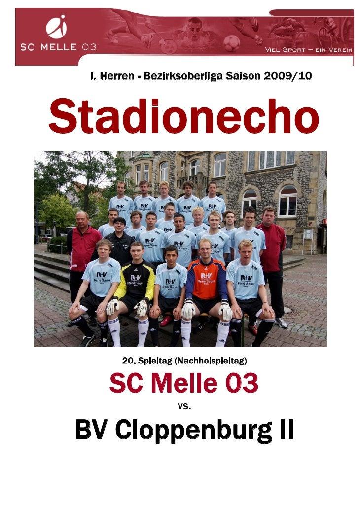 I. Herren - Bezirksoberliga Saison 2009/10    Stadionecho            20. Spieltag (Nachholspieltag)       SC Melle 03     ...