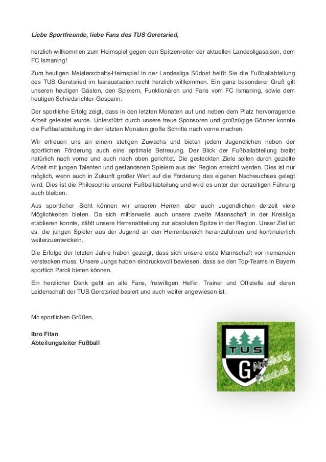 Liebe Sportfreunde, liebe Fans des TUS Geretsried,! ! herzlich willkommen zum Heimspiel gegen den Spitzenreiter der aktuel...