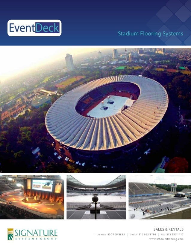 Stadium Flooring Systems  SALES & RENTALS TOLL FREE  800 709 8835 |  DIRECT  212 953 1116 |  FAX  212 953 1117  www.stadiu...