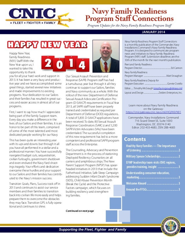 JANUARY 2014  Happy New Year, Family Readiness (N91) Staff! With the New Year upon us, I wanted to take this opportunity t...