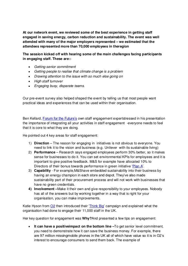 Staff engagement  event write up
