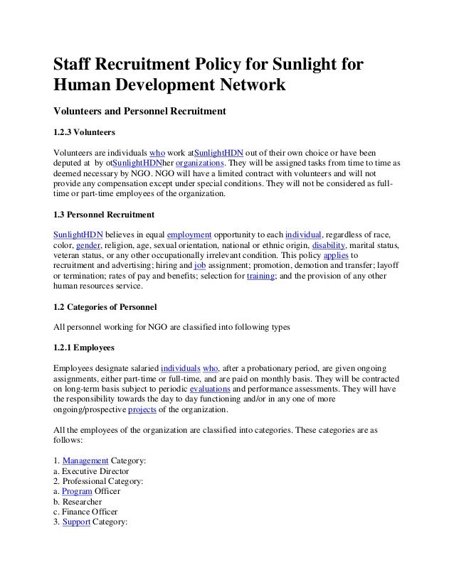 Staff recruitment policy for sunlight for human development network