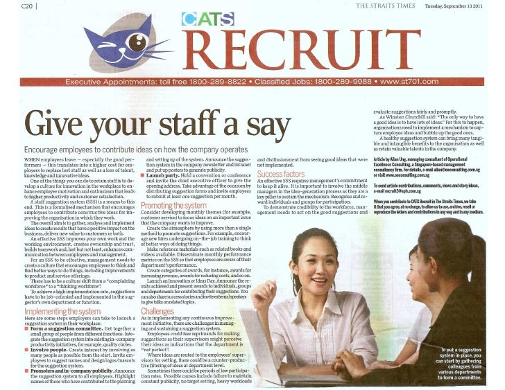 """Staff suggestion system: """"Give your staff a say"""" by Allan Ung, Managing Consultant, Operational Excellence Consulting"""