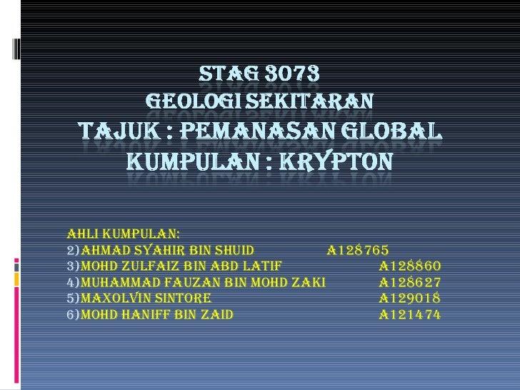 STAG 3073 Krypton : Pemanasan global