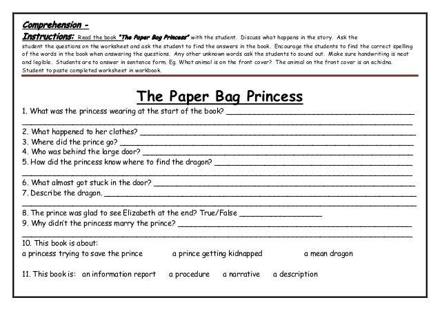 Paper Bag Princess Book Cover ~ Stage language unit the paper bag princess whole document