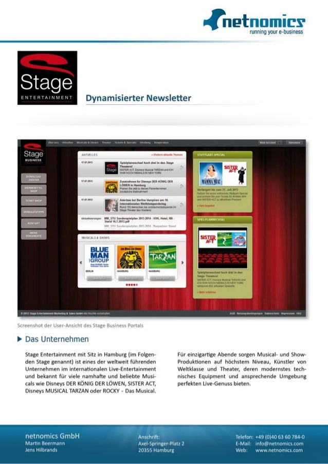 B2B Segmentierung und Dynamisierung Stage Entertainment