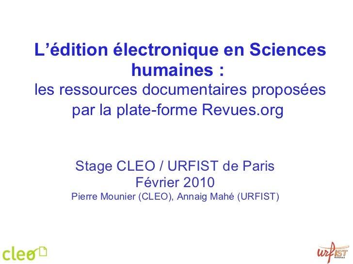 Ressources documentaires du Cléo - Urfist Paris