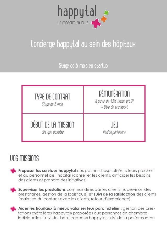 Concierge happytal au sein des hôpitaux Stage de 6 mois en startup Type de contrat Stage de 6 mois Début de la mission dès...