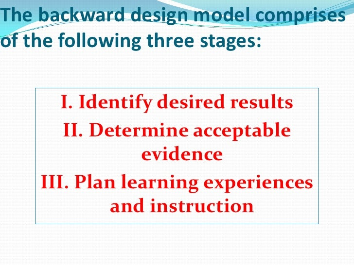 The backward design model comprisesof the following three stages:       I. Identify desired results       II. Determine ac...