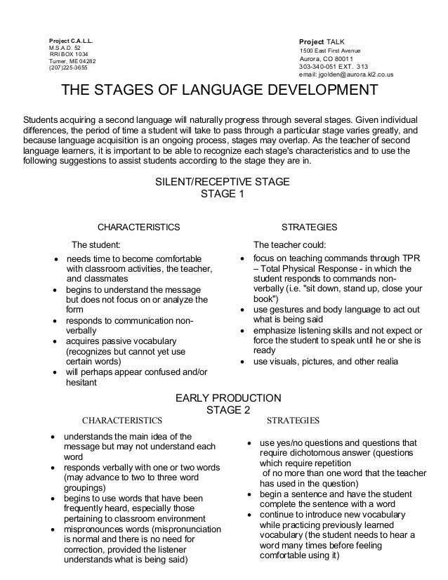 Stage of language development