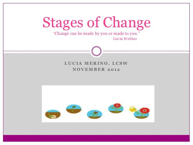 """Stages of Change """"Change can be made by you or made to you.""""                               Gavin Webber      LUCIA MERINO,..."""