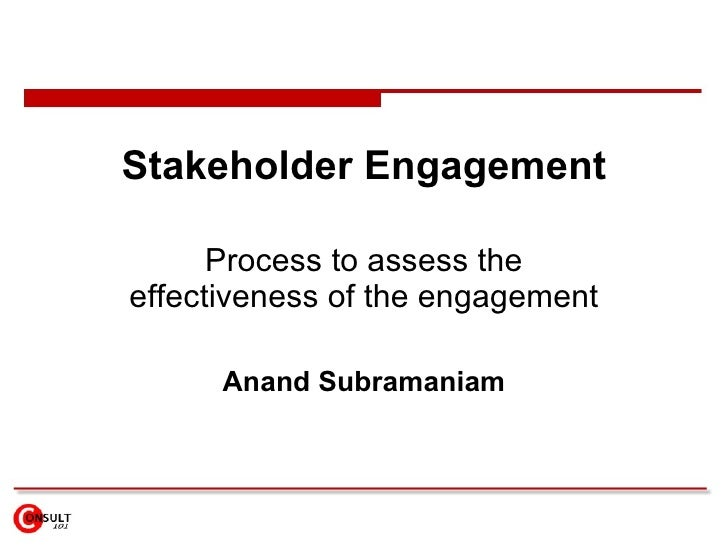Stakeholder Engagement Process to assess the effectiveness of the engagement Anand Subramaniam