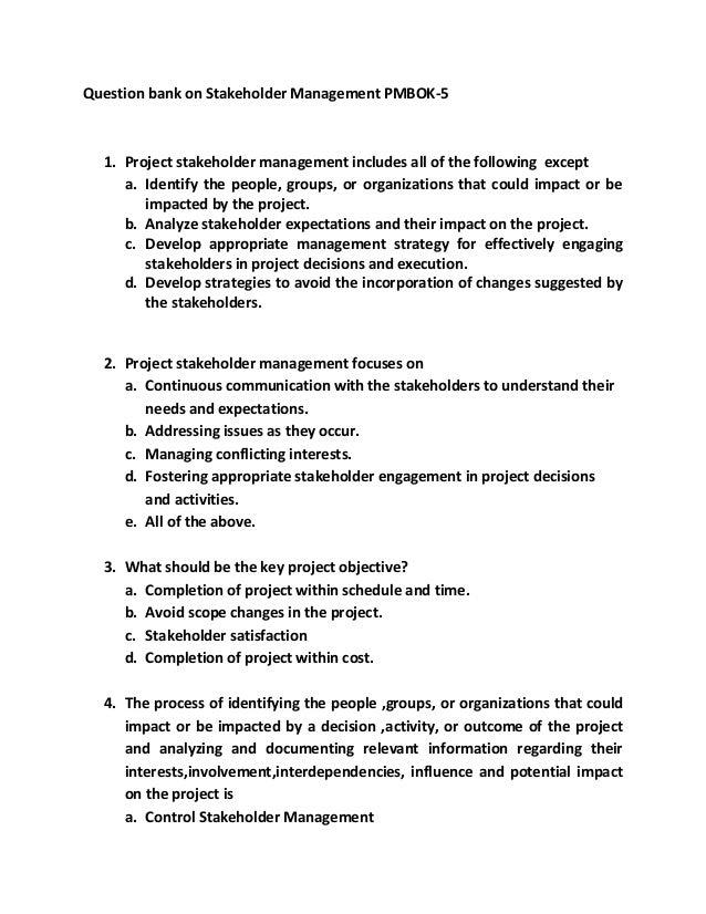 Stakeholder management qb