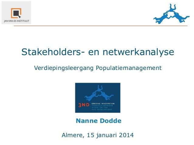 Stakeholders- en netwerkanalyse Verdiepingsleergang Populatiemanagement  Nanne  Dodde Almere, 15 januari 2014