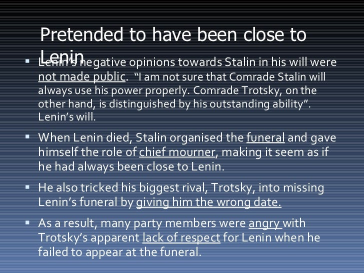 compare and contrast lenin stalin However, i am not comparing mao's accomplishments to lenin's, but to sta-  by  contrast, stalin closely implicated himself in the minutiae of.