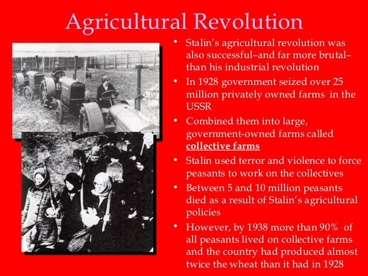 a study on the success of the agricultural and industrial policies by the ussr in the 1930s The soviet union was especially devastated due to the mass destruction of the industrial base that it had built up in the 1930s the ussr also experienced a major famine in 1946–48 due to war devastation that cost an estimated 1 to 15 million lives as well as secondary population losses due to reduced fertility.